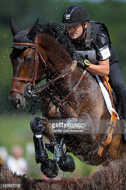 Stanislas de Zuchowicz of France and Quirinal de la Bastide compete in the DHL Price Cross Country Test during day five of the 2012 CHIO Aachen...