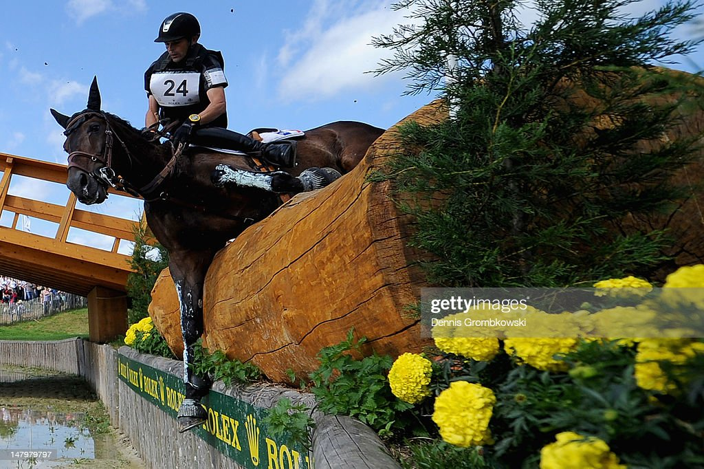 Stanislas de Zuchowicz of France and Quirinal de la Bastide compete in the DHL Price Cross Country Test during day five of the 2012 CHIO Aachen tournament on July 7, 2012 in Aachen, Germany.
