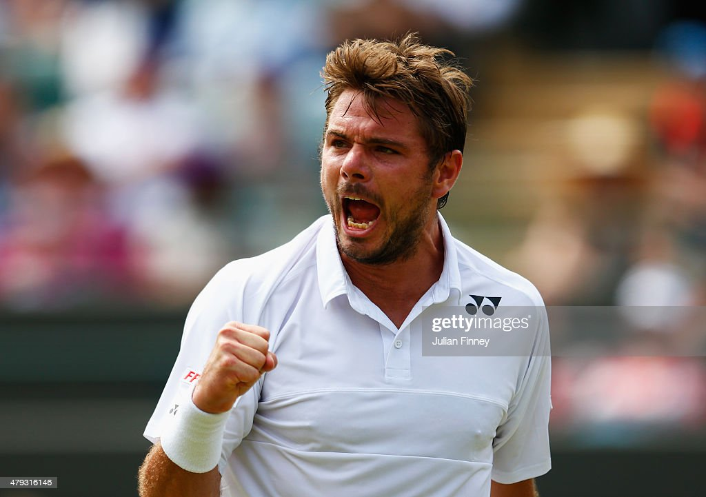 <a gi-track='captionPersonalityLinkClicked' href=/galleries/search?phrase=Stanislas+Wawrinka&family=editorial&specificpeople=557155 ng-click='$event.stopPropagation()'>Stanislas Wawrinka</a> of Switzerland celebrates a point in his Gentlemen's Singles Third Round match against Fernando Verdasco of Spain during day five of the Wimbledon Lawn Tennis Championships at the All England Lawn Tennis and Croquet Club on July 3, 2015 in London, England.