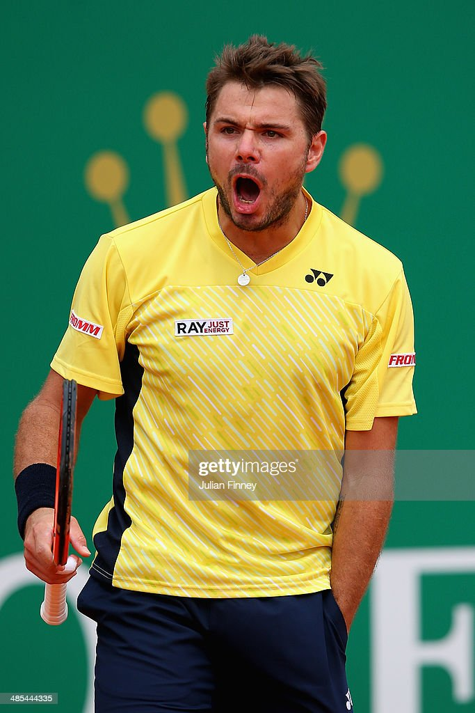 <a gi-track='captionPersonalityLinkClicked' href=/galleries/search?phrase=Stanislas+Wawrinka&family=editorial&specificpeople=557155 ng-click='$event.stopPropagation()'>Stanislas Wawrinka</a> of Switzerland celebrates defeating Milos Raonic of Canada during day six of the ATP Monte Carlo Rolex Masters Tennis at Monte-Carlo Sporting Club on April 18, 2014 in Monte-Carlo, Monaco.