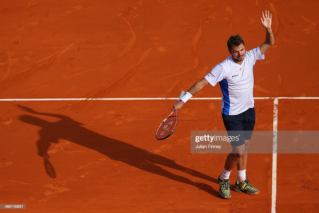 <a gi-track='captionPersonalityLinkClicked' href=/galleries/search?phrase=Stanislas+Wawrinka&family=editorial&specificpeople=557155 ng-click='$event.stopPropagation()'>Stanislas Wawrinka</a> of Switzerland celebrates defeating Roger Federer of Switzerland in the final during day eight of the ATP Monte Carlo Rolex Masters Tennis at Monte-Carlo Sporting Club on April 20, 2014 in Monte-Carlo, Monaco.