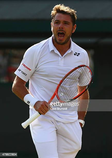 Stanislas Wawrinka of Switzerland celebrates in his Gentlemens Singles Quarter Final match against Richard Gasquet of France during day nine of the...