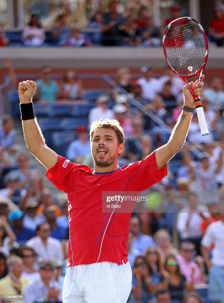 <a gi-track='captionPersonalityLinkClicked' href=/galleries/search?phrase=Stanislas+Wawrinka&family=editorial&specificpeople=557155 ng-click='$event.stopPropagation()'>Stanislas Wawrinka</a> of Switzerland celebrates match point during his men's singles quarterfinal match against Andy Murray of Great Britain on Day Eleven of the 2013 US Open at USTA Billie Jean King National Tennis Center on September 5, 2013 in the Flushing neighborhood of the Queens borough of New York City.
