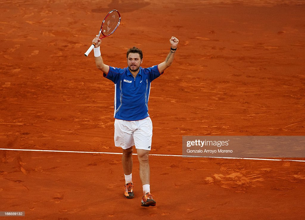 <a gi-track='captionPersonalityLinkClicked' href=/galleries/search?phrase=Stanislas+Wawrinka&family=editorial&specificpeople=557155 ng-click='$event.stopPropagation()'>Stanislas Wawrinka</a> of Switzerland celebrates matchpoint over Tomas Berdych of Czech Republic in the semi-final match on day eight of the Mutua Madrid Open tennis tournament at the Caja Magica on May 11, 2013 in Madrid, Spain.
