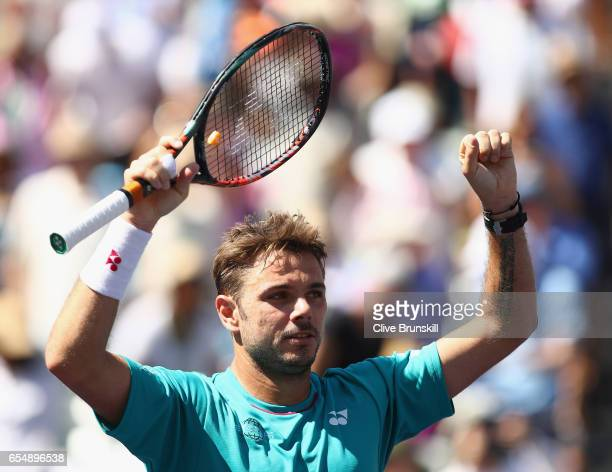Stanislas Wawrinka of Switzerland celebrates to the crowd after his straight sets victory against Pablo Carreno Busta of Spain in their semi final...