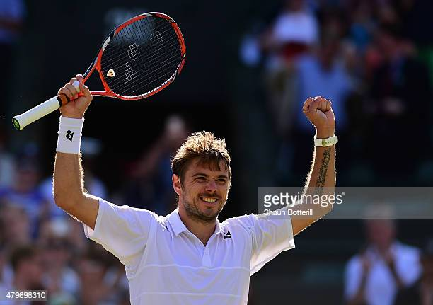 Stanislas Wawrinka of Switzerland celebrates victory in his Gentlemen's Singles Fourth Round match against David Goffin of Belgium during day seven...