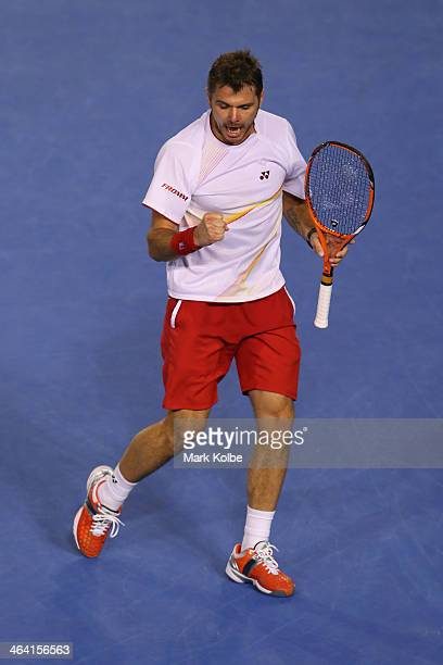 Stanislas Wawrinka of Switzerland celebrates winning a point in his quarterfinal match against Novak Djokovic of Serbia during the 2014 Australian...