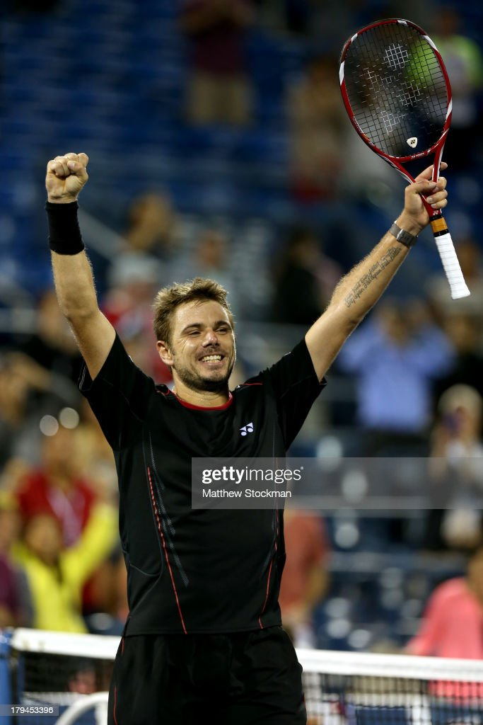 Stanislas Wawrinka of Switzerland celebrates winning his men's singles fourth round match against Tomas Berdych of Czech Republic on Day Nine of the 2013 US Open at USTA Billie Jean King National Tennis Center on September 3, 2013 in the Flushing neighborhood of the Queens borough of New York City.
