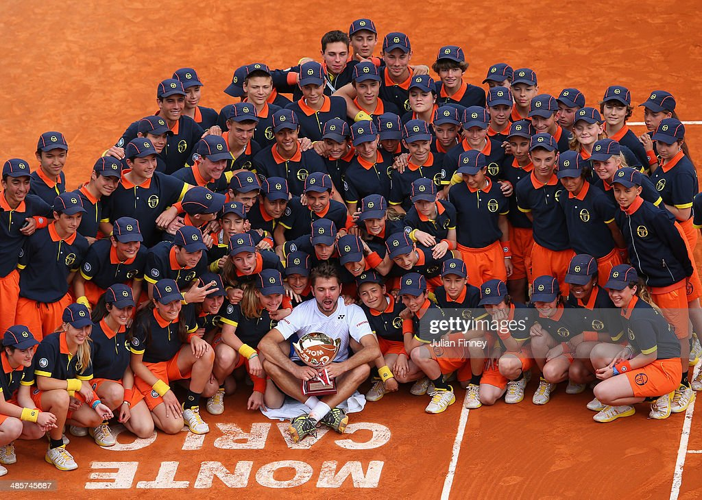 <a gi-track='captionPersonalityLinkClicked' href=/galleries/search?phrase=Stanislas+Wawrinka&family=editorial&specificpeople=557155 ng-click='$event.stopPropagation()'>Stanislas Wawrinka</a> of Switzerland celebrates with the ball boys and girls after defeating Roger Federer of Switzerland in the final during day eight of the ATP Monte Carlo Rolex Masters Tennis at Monte-Carlo Sporting Club on April 20, 2014 in Monte-Carlo, Monaco.