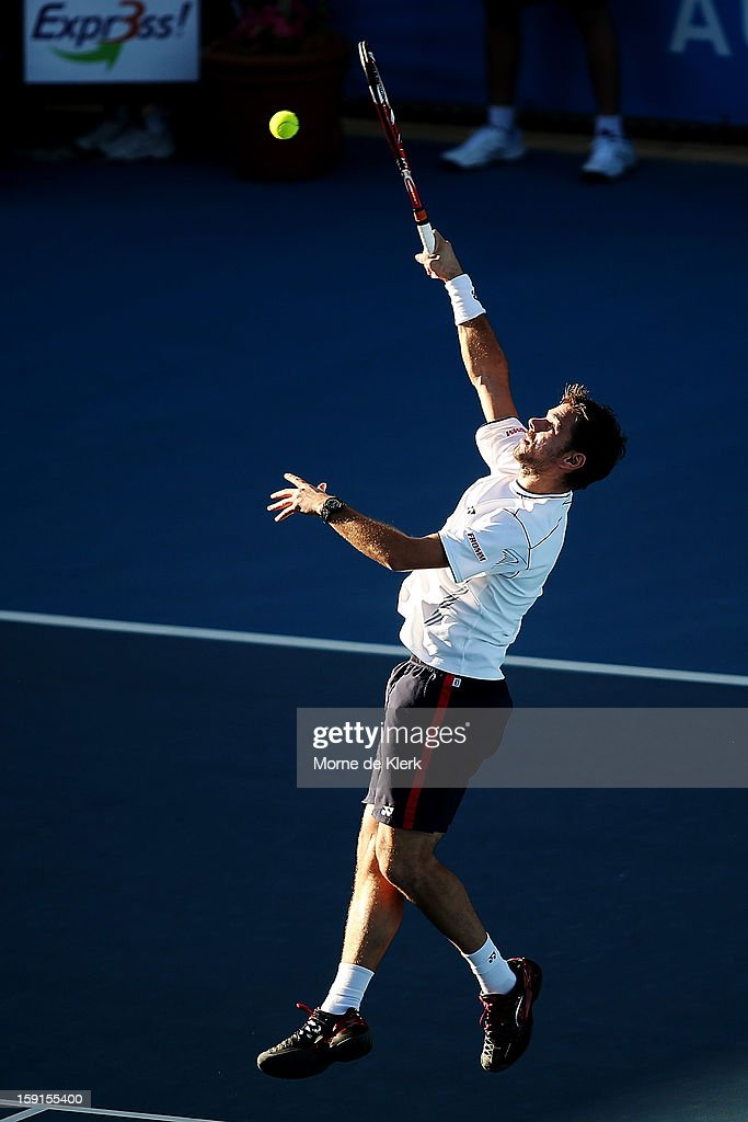 Stanislas Wawrinka of Switzerland competes during the World Tennis Challenge at Memorial Drive on January 9, 2013 in Adelaide, Australia.