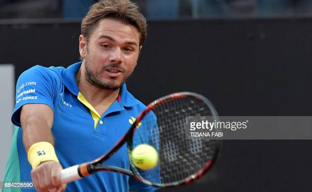 Stanislas Wawrinka of Switzerland hits a return to Benoit Paire of France during their match at the ATP Tennis Open tournament on May 17 2017 at the...