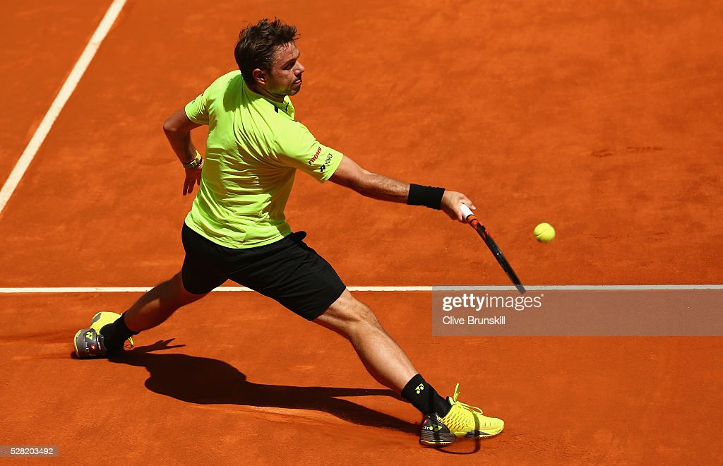 <a gi-track='captionPersonalityLinkClicked' href=/galleries/search?phrase=Stanislas+Wawrinka&family=editorial&specificpeople=557155 ng-click='$event.stopPropagation()'>Stanislas Wawrinka</a> of Switzerland in action against Nick Kyrgios of Australia in their second round match during day five of the Mutua Madrid Open tennis tournament at the Caja Magica on May 04, 2016 in Madrid.