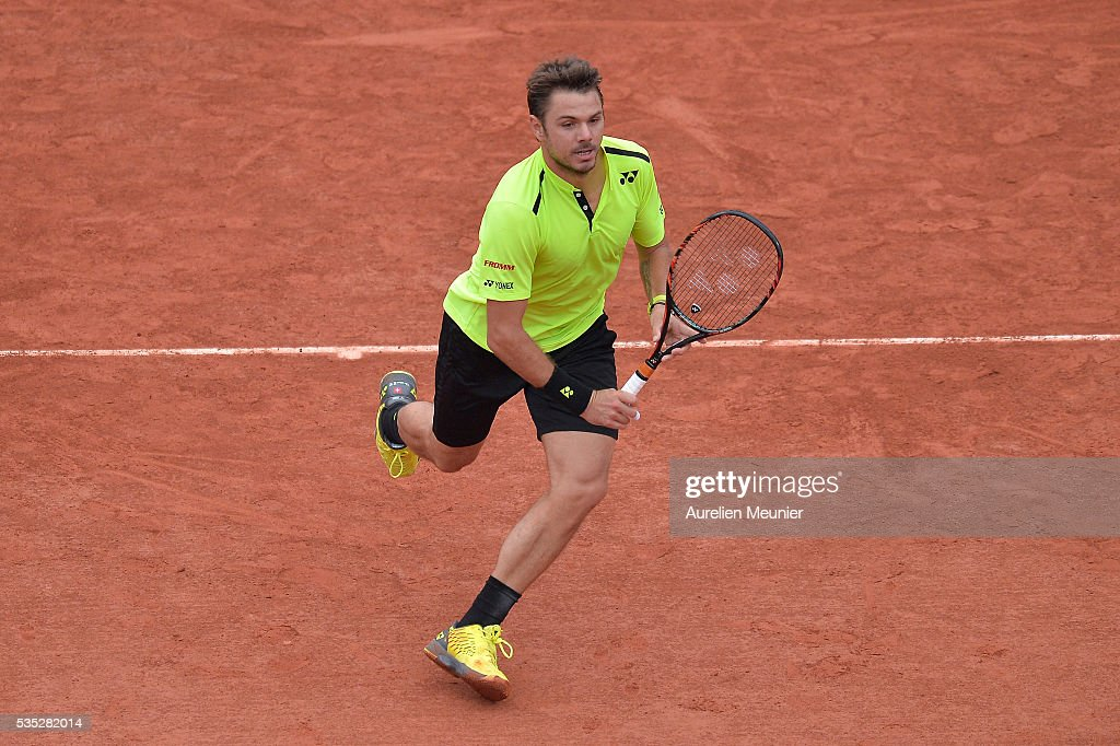 <a gi-track='captionPersonalityLinkClicked' href=/galleries/search?phrase=Stanislas+Wawrinka&family=editorial&specificpeople=557155 ng-click='$event.stopPropagation()'>Stanislas Wawrinka</a> of Switzerland in action during his men's singles fourth round match against Viktor Troicki of Serbia on day eight of the 2016 French Open at Roland Garros on May 29, 2016 in Paris, France.