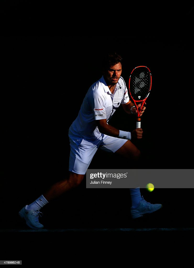 Stanislas Wawrinka of Switzerland in action in his Gentlemens Singles first round match against Joao Sousa of Portugal during day one of the Wimbledon Lawn Tennis Championships at the All England Lawn Tennis and Croquet Club on June 29, 2015 in London, England.