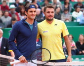 Stanislas Wawrinka of Switzerland lines up with Roger Federer of Switzerland in the final during day eight of the ATP Monte Carlo Rolex Masters...