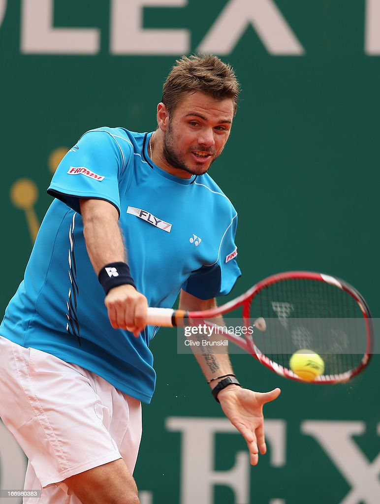 Stanislas Wawrinka of Switzerland playa a backhand against Jo-Wilfried Tsonga of France in their quarter final match during day six of the ATP Monte Carlo Masters,at Monte-Carlo Sporting Club on April 19, 2013 in Monte-Carlo, Monaco.