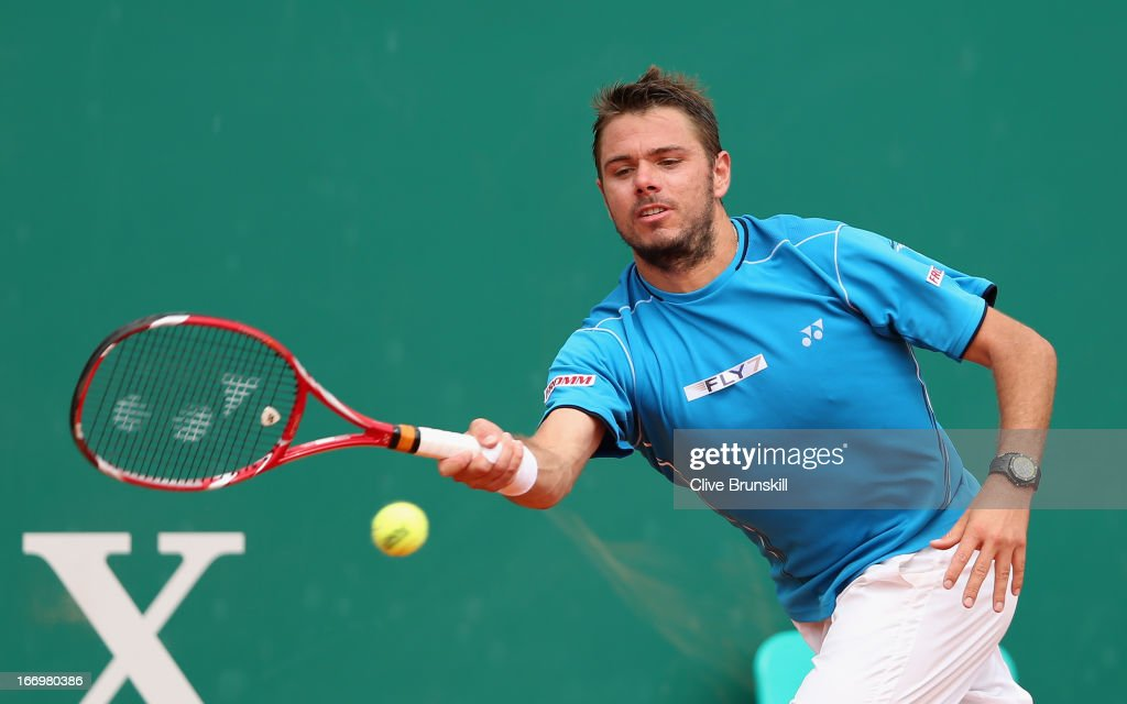 Stanislas Wawrinka of Switzerland playa a forehand against Jo-Wilfried Tsonga of France in their quarter final match during day six of the ATP Monte Carlo Masters,at Monte-Carlo Sporting Club on April 19, 2013 in Monte-Carlo, Monaco.