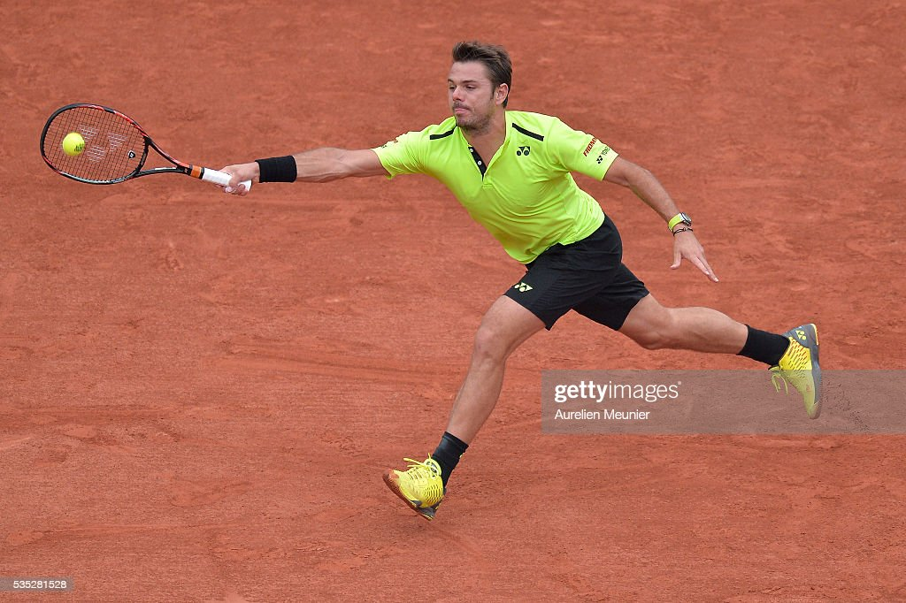 <a gi-track='captionPersonalityLinkClicked' href=/galleries/search?phrase=Stanislas+Wawrinka&family=editorial&specificpeople=557155 ng-click='$event.stopPropagation()'>Stanislas Wawrinka</a> of Switzerland plays a forehand during his men's singles fourth round match against Viktor Troicki of Serbia on day eight of the 2016 French Open at Roland Garros on May 29, 2016 in Paris, France.
