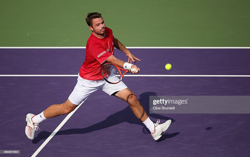 Stanislas Wawrinka of Switzerland plays a forehand volley against Edouard RogerVasselin of France during their third round match during day 8 at the...