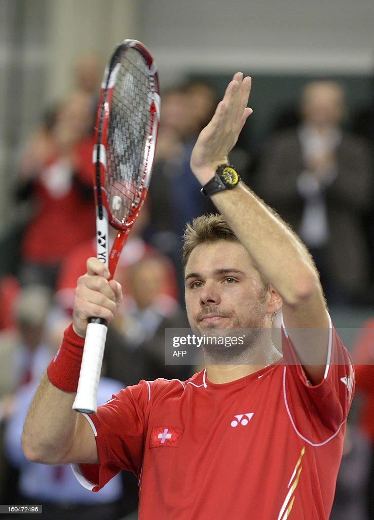 Stanislas Wawrinka of Switzerland reacts after beating Lukas Rosol of the Czech Republic of the Davis Cup World Group first round game between Switzerland and the Czech Republic on February 1, 2013 in Geneva.