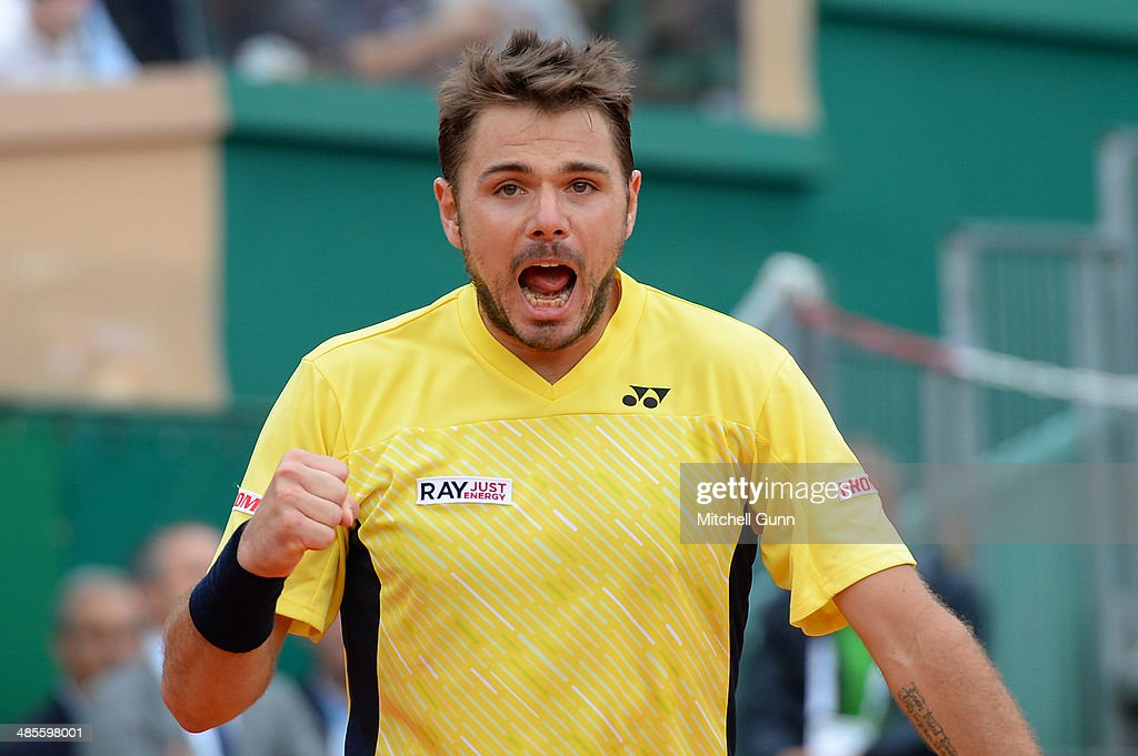 Stanislas Wawrinka of Switzerland reacts after playing a shot against David Ferrer of Spain during their semi final match on day seven of the ATP Monte Carlo Masters, at the Monte-Carlo Country Club on April 19, 2014 in Monte-Carlo, Monaco.