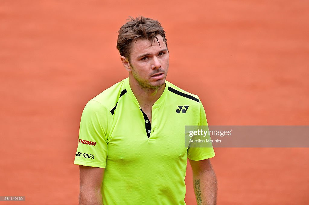 <a gi-track='captionPersonalityLinkClicked' href=/galleries/search?phrase=Stanislas+Wawrinka&family=editorial&specificpeople=557155 ng-click='$event.stopPropagation()'>Stanislas Wawrinka</a> of Switzerland reacts during his men's single second round match against Taro Daniel of Japan on day four of the 2016 French Open at Roland Garros on May 25, 2016 in Paris, France.