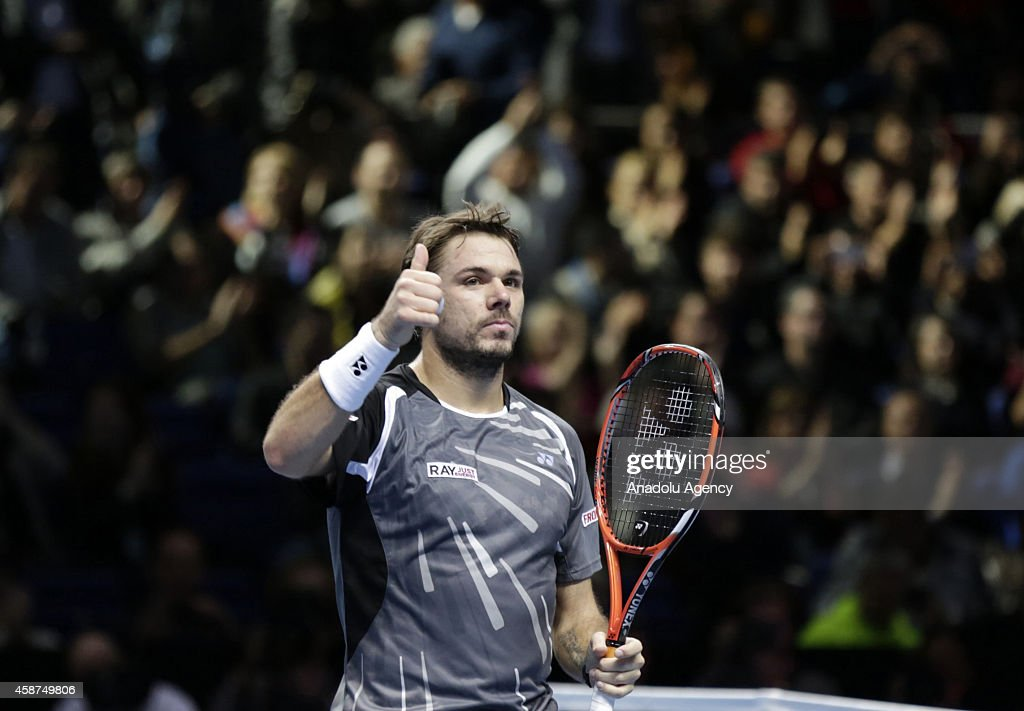 Stanislas Wawrinka of Switzerland reacts during the singles group A match tennis match against Tomas Berdych of the Czech Republic on the second day of the Barclays ATP World Tour Finals at the O2 Arena on November 10, 2014 in London, England.