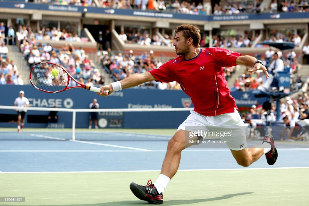 <a gi-track='captionPersonalityLinkClicked' href=/galleries/search?phrase=Stanislas+Wawrinka&family=editorial&specificpeople=557155 ng-click='$event.stopPropagation()'>Stanislas Wawrinka</a> of Switzerland returns a backhand during his men's singles semifinal match against Novak Djokovic of Serbia on Day Thirteen of the 2013 US Open at USTA Billie Jean King National Tennis Center on September 7, 2013 in the Flushing neighborhood of the Queens borough of New York City.