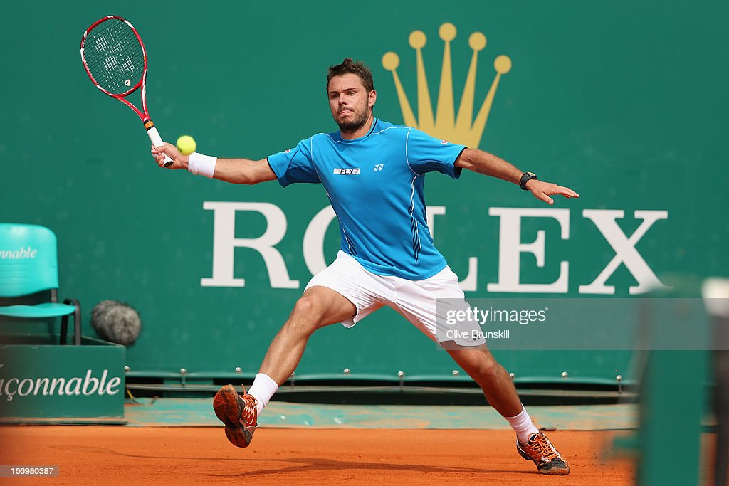 Stanislas Wawrinka of Switzerland runs to play a forehand against Jo-Wilfried Tsonga of France in their quarter final match during day six of the ATP Monte Carlo Masters,at Monte-Carlo Sporting Club on April 19, 2013 in Monte-Carlo, Monaco.