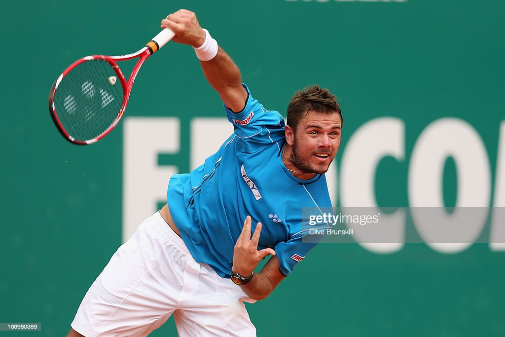 Stanislas Wawrinka of Switzerland serves against Jo-Wilfried Tsonga of France in their quarter final match during day six of the ATP Monte Carlo Masters,at Monte-Carlo Sporting Club on April 19, 2013 in Monte-Carlo, Monaco.