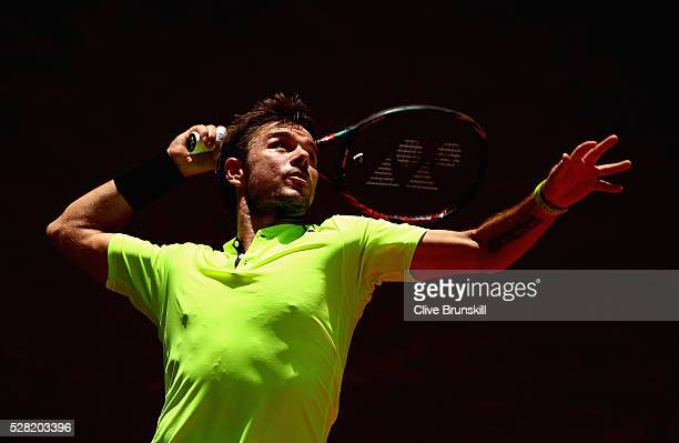 Stanislas Wawrinka of Switzerland serves against Nick Kyrgios of Australia in their second round match during day five of the Mutua Madrid Open...