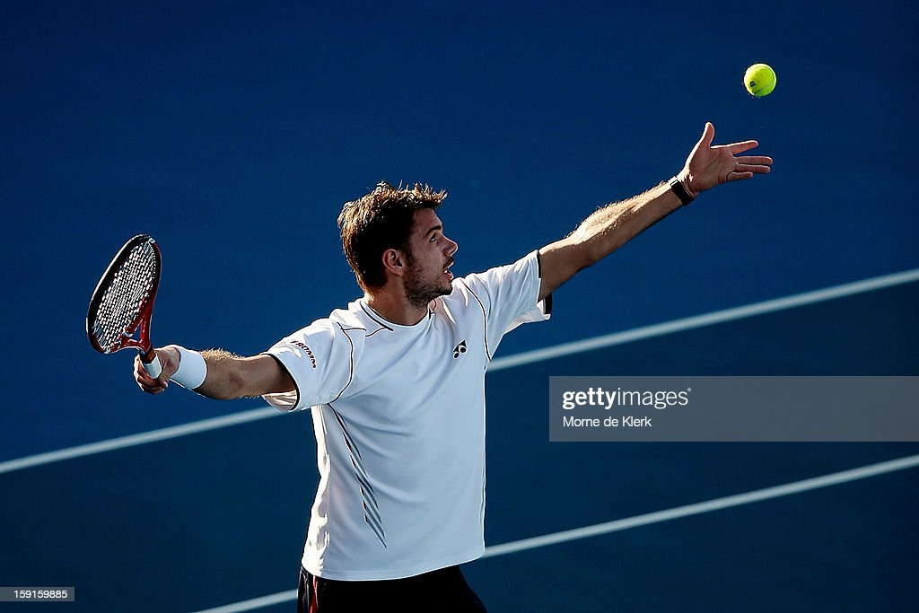 Stanislas Wawrinka of Switzerland serves during the World Tennis Challenge at Memorial Drive on January 9, 2013 in Adelaide, Australia.