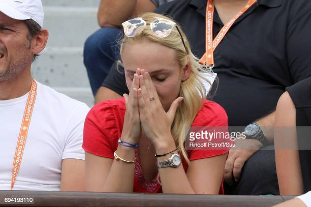 Stanislas Wawrinka's girlfriend Donna Vekic is spotted at Roland Garros on June 9 2017 in Paris France