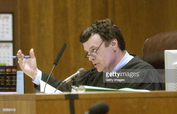 Stanislaus Superior Court Judge Roger M Beauchesne makes a point in court June 3 2003 in Modesto California Beauchesne today postponed a decision on...