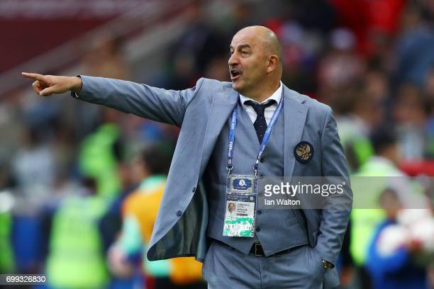Stanislav Cherchesov head coach of Rusia gives his team instructions during the FIFA Confederations Cup Russia 2017 Group A match between Russia and...