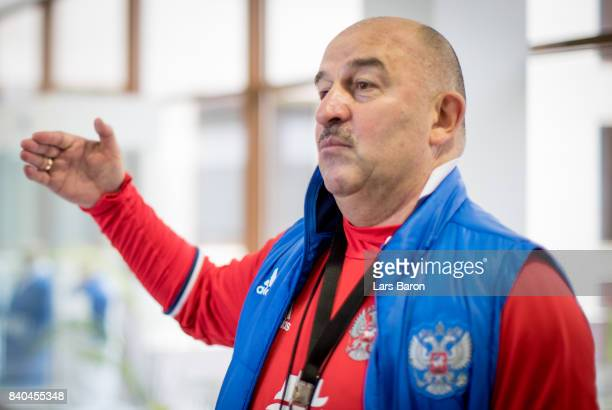 Stanislav Cherchesov head coach of Russia adresses the media on August 29 2017 in Moscow Russia