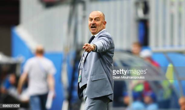 Stanislav Cherchesov head coach of Russia gestures during the FIFA Confederations Cup Russia 2017 Group A match between Russia and New Zealand at...