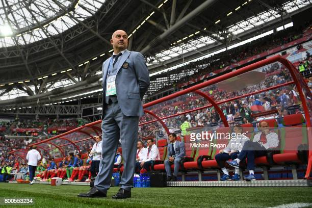 Stanislav Cherchesov head coach of Russia looks on during the FIFA Confederations Cup Russia 2017 Group A match between Mexico and Russia at Kazan...