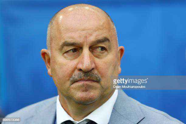 Stanislav Cherchesov head coach of Russia looks on prior to the FIFA Confederations Cup Russia 2017 Group A match between Russia and New Zealand at...