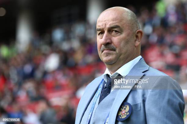 Stanislav Cherchesov head coach of Russia looks on prior to the FIFA Confederations Cup Russia 2017 Group A match between Russia and Portugal at...