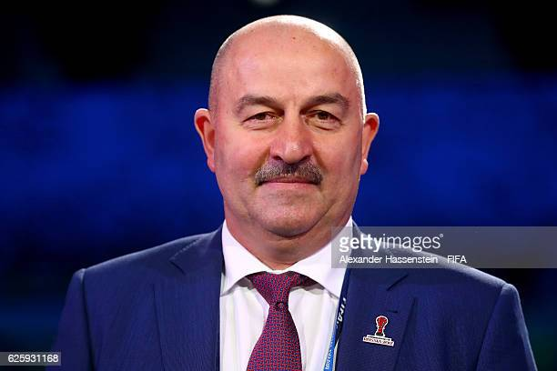 Stanislav Cherchesov head coach of Russia national football team looks on after the Official Draw for the FIFA Confederations Cup Russia 2017 at...