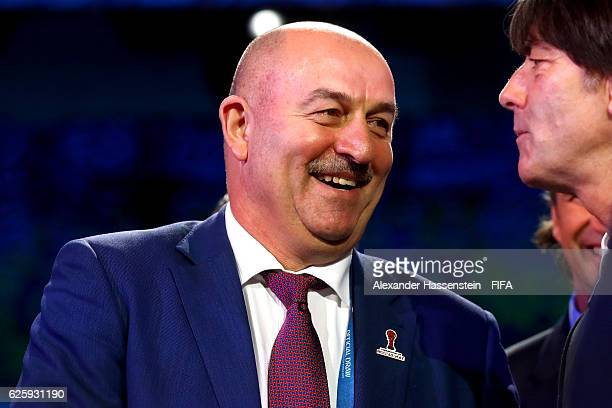Stanislav Cherchesov head coach of Russia national football team talks to Joachim Loew head coach of German national team after the Official Draw for...