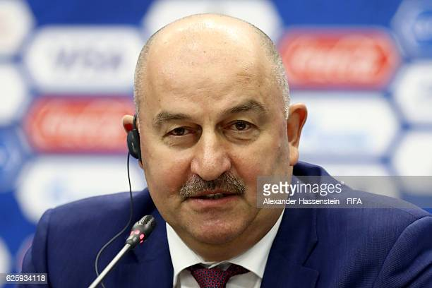 Stanislav Cherchesov head coach of Russia national football team talks to the media during a press conference after the Official Draw for the FIFA...