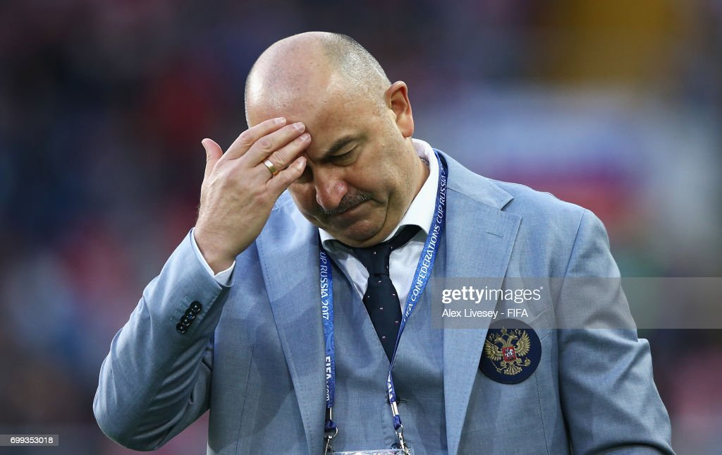 Stanislav Cherchesov head coach of Russia reacts after the FIFA Confederations Cup Russia 2017 Group A match between Russia and Portugal at Spartak Stadium on June 21, 2017 in Moscow, Russia.