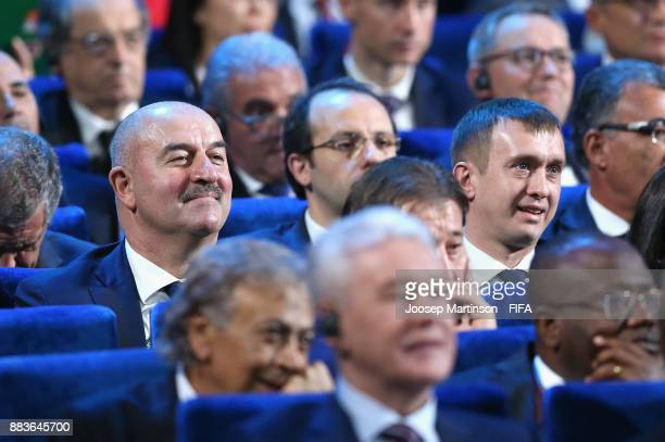 Stanislav Cherchesov Manager of Russia looks on during the Final Draw for the 2018 FIFA World Cup Russia at the State Kremlin Palace on December 1...