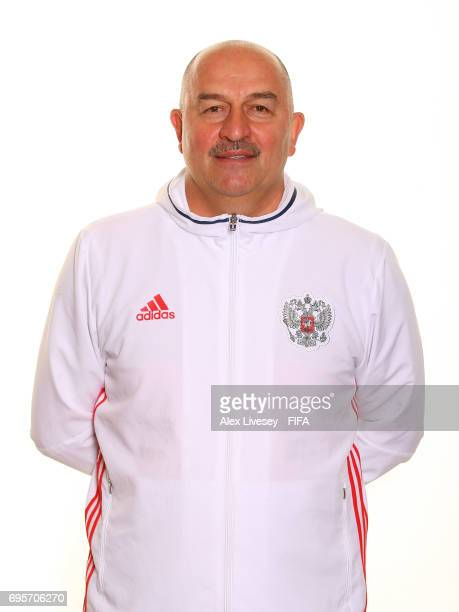 Stanislav Cherchesov the coach of Russia during a portrait session at the Lotte Hotel on June 13 2017 in Moscow Russia