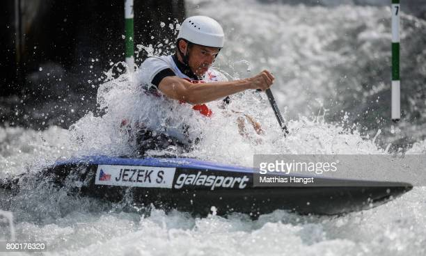 Stanislav Jezek of The Czech Republic competes during the Canoe Single Men's Qualification of the ICF Canoe Slalom World Cup on June 23 2017 in...