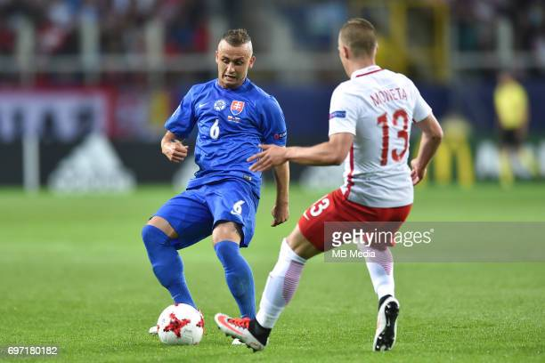 Stanislav Lobotka and Lukasz Moneta during the UEFA European Under21 match between Poland and Slovakia at Arena Lublin on June 16 2017 in Lublin...
