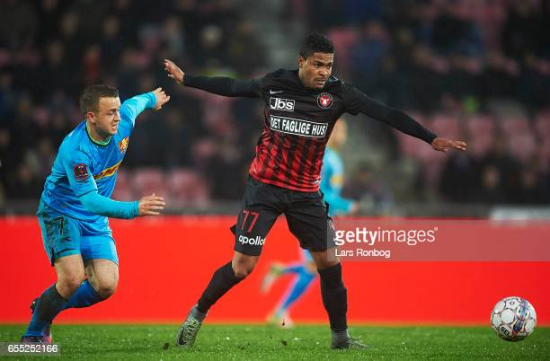 Stanislav Lobotka of FC Nordsjalland and Bruninho of FC Midtjylland compete for the ball during the Danish Alka Superliga match between FC...