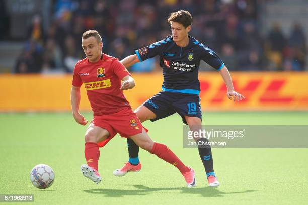 Stanislav Lobotka of FC Nordsjalland and Christian Norgaard of Brondby IF compete for the ball during the Danish Alka Superliga match between FC...